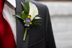 Lego and calla lily boutonniere for groom and groomsmen