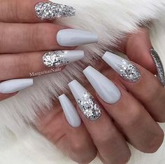 23 Beautiful Nail Art Designs for Coffin Nails: We have found 23 beautiful nail art designs for coffin nails. There is something for everyone, from vibrant colors to manicures that are subtle and elegant. 43 Beautiful Nail Art Designs for Coffin Nails Cute Acrylic Nails, Cute Nails, Gel Nails, White And Silver Nails, Manicures, White Acrylic Nails With Glitter, Silver Glitter Nails, Coffin Nails Glitter, Silver Nail Art