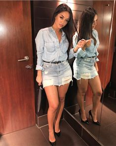 Guess I go through phases 🤷🏻‍♀️ shirt dress for OFF ladies 😘 Skirt Outfits, Chic Outfits, Sexy Outfits, Summer Outfits, Fashion Outfits, Womens Fashion, Style Fashion, Superenge Jeans, All Jeans