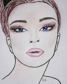 Tonalità del prugna e burgundy per uno #smokeyeyes che conferisce allo sguardo una profondità che contrasta con labbra lasciate #nude e #glossy. Occhi in primo piano anche con ciglia esagerate. #facechart #makeup #personalmakeup #makeupartist #makeuplovers #drawings #artwork #cosmetics #eyeshadow #blush #beauty #face #lips #look #dress #fashionweek #zacposen #vogue #fashionstyle #mua #artist #like #follow #facechartmakeup