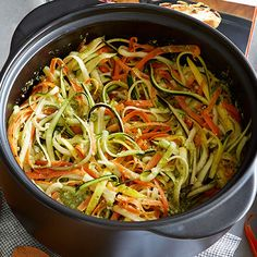 Vegetable+Primavera+-+The+Pampered+Chef® The Pampered Chef, Pampered Chef Recipes, Pampered Chef Spiralizer, Vegetable Primavera, Sweet Potato Spiralizer Recipes, Rockcrok Recipes, Baker Recipes, Cooking Recipes, Zucchini Pasta