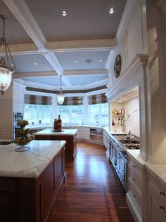 The kitchen at the Frick Estate, a new stone mansion in Alpine, N.J. . Interior designer Terence Mack of Sparkill did the interiors.
