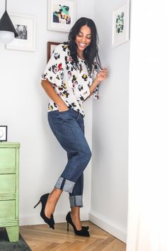 Styling tip: Girlfriend jeans help edge up a girlie top and heels. #ad