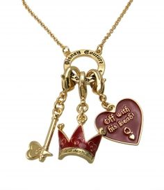 Disney Couture alice in wonderland red queen charm necklace    Off with his Head!