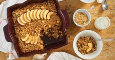 Fall-inspired baked oatmeal full of oats, apples, nuts, and cinnamon.