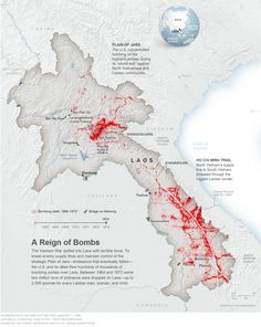 The bombing of Laos - Between 1964 and 1973 some two million tons of ordnance were dropped on Laos, up to pounds for every Laotian man, woman, and child // Thank you, US-America North Vietnam, Vietnam War, Ho Chi Minh Trail, South America Map, Vientiane, Historical Maps, African History, Cartography, World History
