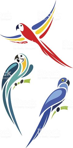 Vector Mexicanos Parrots royalty-free parrots stock vector art & more images of animal Bird Stencil, Stencil Painting, Fabric Painting, Parrot Cartoon, Parrot Logo, Parrot Drawing, Parrot Painting, Bird Drawings, Easy Drawings