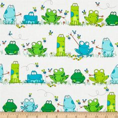 Kanvas Leap Frog Frog Town White from @fabricdotcom  Designed by Greta Lynn for Kanvas in association with Benartex, this cotton print is perfect for quilting, apparel and home decor accents. Colors include white, shades of blue and shades of green.