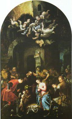 Adorazione dei pastori.  Chiesa dei Santi Nazaro e Celso.  Brescia.  1540. Il punto di contatto con il Manierismo. C'è un certo distacco tra il gruppo dei Santi e quello dei pastori