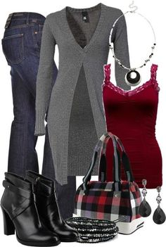 Cute outfit. My only thing is I wouldn't use the purse. It's not my style. The rest I love though. :)