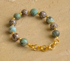 African Turquoise and Jasper Stretch Bracelets