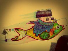 -Meu peixe mágico- Lápis aquarelavel e caneta hidrográfica.