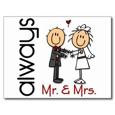 Stick Figure Wedding Couple Mr. & Mrs. Always Postcard
