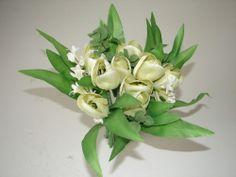 Blumenstrauß Tulpen Kunstblumen 30cm gelb-weiß Sträuße Blumen neu!