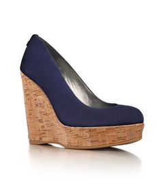 Stuart Weitzman Nice Blue Suede Corkswoons. $375 at www.stuartweitzman.com. Worn by Kate 8/3/12 at the Olympic Field Hockey competition.