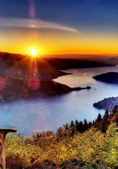 Amazing sunset view behind, Lake #Annecy, Haute-Savoie, France: