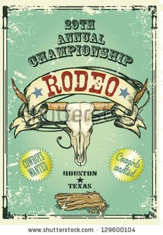 Retro style Rodeo Championship poster with longhorn skull, ribbon banner and sample text on it. Text and grunge effect are removable by Nata...