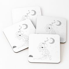 'Sleepy Mouse' Coasters by Melikar Cup Mat, Go To Sleep, Cold Drinks, Coaster Set, Floor Pillows, Wall Tapestry, Duvet Covers, Vibrant, It Is Finished