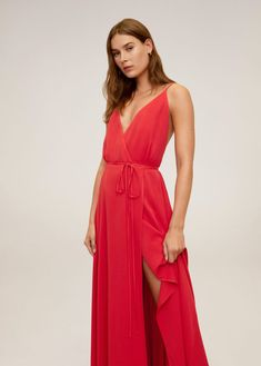 Flared design Flowy fabric V-neck Straps Drawstring on the waist Side slit Flare, Mango France, Mango Fashion, Shades Of Red, Red Lace, Latest Trends, Cool Outfits, Style Inspiration, Formal Dresses