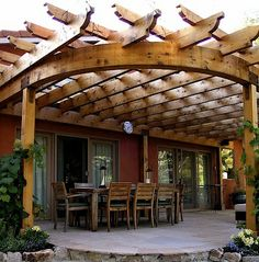 Wondering if we should embark on a project like this to provide some partial shade for our gravel patio in the backyard. Our space is much smaller, but that quarter-circle shape exactly, just outside the back sliding glass doors.