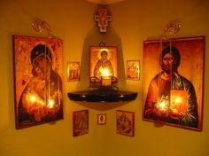 An icon corner is an essential feature of any Orthodox house. It becomes the family's place of worship – the home altar. Orthodox Prayers, Catholic Prayers, Orthodox Christianity, Catholic Answers, Rosary Catholic, Catholic Bible Books, Religious Icons, Religious Art, Home Altar Catholic