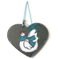 Heart with white hen- Heart Valentine - White hen in a Heart- Spring decoration - Easter decoration de la boutique LULdesign sur Etsy