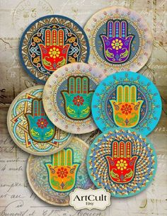 FATMA& HAND - inch Digital Collage Sheet moroccan Hamsa Spiritual Amulet images for Pocket Mirrors Magnets Paper Weights Printable♥Welcome to ArtCult - Printable digital goods on Etsy!♥ ArtCult Printable Images are great for your art and craft pr Cd Crafts, Arts And Crafts Projects, Painted Bamboo, Hand Painted, Hand Der Fatima, Hamsa Art, Dot Painting, Art Plastique, Handmade Soaps