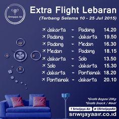 Extra Flight Lebaran Sriwijaya Air. Segera pesan tiketnya sebelum kehabisan Partners! BOOK NOW : www.sriwijayaair.co.id | 021-29279777 / 0804-1-777-777 | Kantor Penjualan Sriwijaya Air di Seluruh Indonesia. | Sriwijaya Air - Your Flying Partner