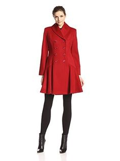 Sofia Cashmere Women's Princess Dress Coat (Red)