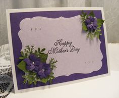 Beautiful Handmade Mother's Day Card in purples