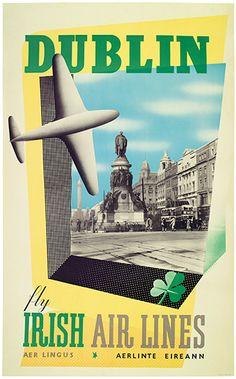 Dublin - Aer Lingus (Irish Air Lines) vintage travel poster art Dublin Airport, Vintage Travel Posters, Vintage Airline, Airline Travel, Air Travel, Irish Eyes Are Smiling, Ireland Travel, Illustrations, Travel Posters