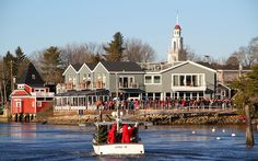 Santa arrives with Lobster and on Lobster Boat Kennebunkport Maine Christmas Prelude - http://kennebunkportmainelodging.com/christmas-prelude-photos.htm