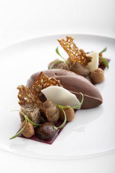 Amedei Chuao chocolate, winter cherry-skin cappuccino, buckwheat textures,