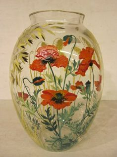 PAINTED GLASS VASE BY PAUL NICOLAS