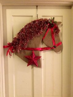 Horse Head Christmas or Holiday Large Wreath Burlap w Red Bridle Star Decor | eBay