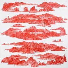 북한과 남한을 갈라놓은 DMZ,끝 없이 이어지는 감시탑 같은 산들이 애워싼 풍경은 지상위의 파라다이스처럼 묘사된다.다초점으로 그려진 여러장의 풍경화가 꼴라주처럼 한 폭에 담긴다.온통 붉은색으로 물든 이세현 작가의 작품은 비무장지대에서 영감을 얻어 시작된 작업이다. 195