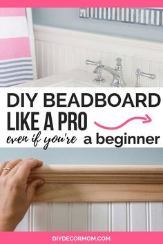 See the easiest way to install DIY beadboard in your bathroom, kitchen, or ceili. - See the easiest way to install DIY beadboard in your bathroom, kitchen, or ceiling with this detail - How To Install Beadboard, Beadboard Wainscoting, Bathroom Beadboard, Home Depot Beadboard, Bathroom Moulding, Wainscoting Styles, Gold Bathroom, Bathroom Small, Bathroom Wallpaper