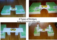 Use index cards to build models of the four main types of bridges.