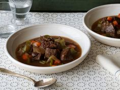 Paula Deen's Old-Time Beef Stew  Sub 3 C beef broth for water; add 3-4 peeled, cubed potatoes; increase salt