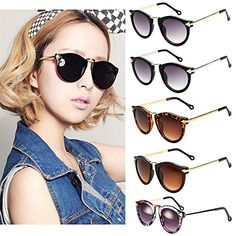 FUNOC-Retro-Vintage-Fashion-Unisex-Round-Arrow-Style-Metal-Frame-Sunglasses-Eyewear-0-0