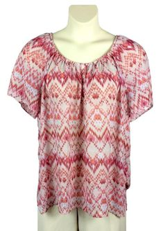 101b1845f3273 Womens Faded Glory Pink Print Sheer Blouse Plus Size 2X Short Sleeve  Polyester  FadedGlory