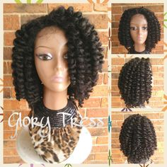 ON SALE // Bantu Knot Out Crochet Braided Lace Front Wig, Crochet Braids With Marley Hair,  African American Wig // MERCY (Free Shipping)
