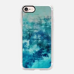OFF THE GRID 4 Cool Coastal Summer Whimsical Turquoise Teal Aqua Abstract Watercolor Acrylic Fine Art Painting Nautical Beach Ocean Swirls Modern Design - Classic Grip Case