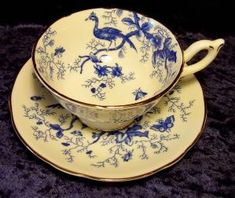 Coalport tea cup and saucer in Cairo blue pattern c. 1960 by kasey