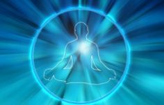 male silhouette in lotus yoga position inside a circle and blue background