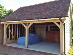 Garages and Car Ports - Roger Gladwell Timber Frame Construction Carport Plans, Carport Garage, Carport Ideas, Garage Ideas, Carport Designs, Garage Design, Timber Buildings, Garden Buildings, Timber Frame Garage