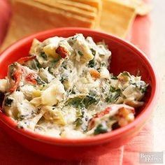 Spinach-Artichoke Dip with Blue Cheese and Bacon From Better Homes and Gardens, ideas and improvement projects for your home and garden plus recipes and entertaining ideas.