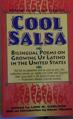 """A compilation of poems in Spanish and English written by various authors. Appropriate for all ages, from 3rd grade-high school. """"Here are the sights, sounds, and smells of Latino culture in America...[by] Alicia Gaspar de Alba, Ana Castillo, Sandra Cisneros, Luis J. Rodriguez, Gary Soto, and Martin Espada."""" Fawcett Books/Ballantine Publishing, NY 1994, ISBN 0-449-70436-X, www.ballantinebooks.com"""