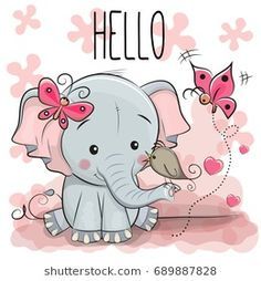 Cute cartoon Elephant with bird. Greeting card cute cartoon Elephant with bird vector illustration Best Wishes Messages, Cartoon Mignon, Image Deco, Art Mignon, Cute Cartoon Girl, Cartoon Clip, Cute Cartoon Animals, Belly Painting, Elephant Love