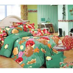 Zelené obliečky na detskú posteľ so zvieratkami Comforters, Bedding, Blanket, Furniture, Beautiful, Home Decor, Creature Comforts, Quilts, Decoration Home